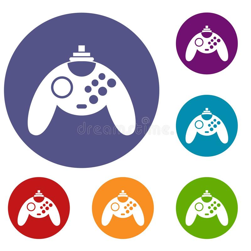 Gamepad icons set. In flat circle reb, blue and green color for web stock illustration