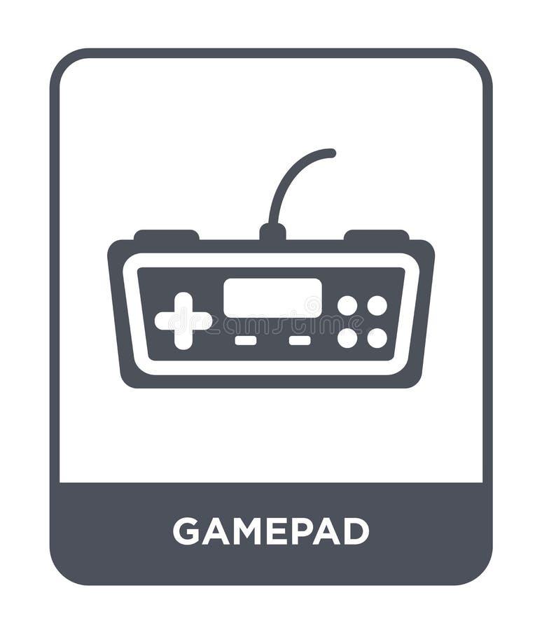 gamepad Ikone in der modischen Entwurfsart Gamepad-Ikone lokalisiert auf weißem Hintergrund einfaches und modernes flaches Symbol lizenzfreie abbildung