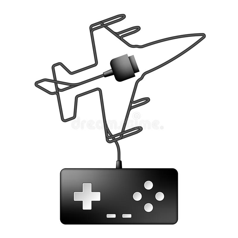 Gamepad or joypad black color and shooting airplane fighter shape. Made from cable design illustration isolated on white background, with copy space vector illustration