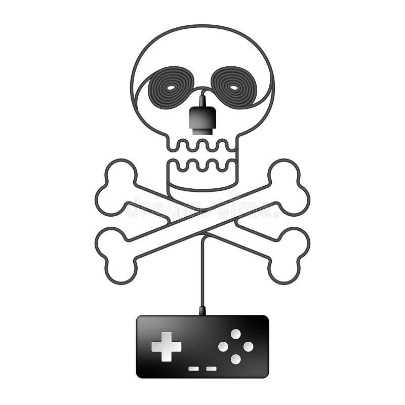 Gamepad or joypad black color, Skull and crossbones shape made from cable design vector illustration