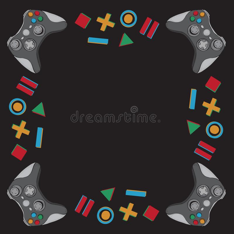 Gamepad joystick game controller background. Devices for video games, esports, gamer on black background. Hand drawn. Gamepad joystick game controller background royalty free illustration