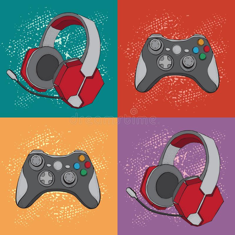 Gamepad joystick game controller and Headphones with microphone. Devices for video games, esports, gamer. Hand drawn. Pattern. Colorful background in pop art stock illustration