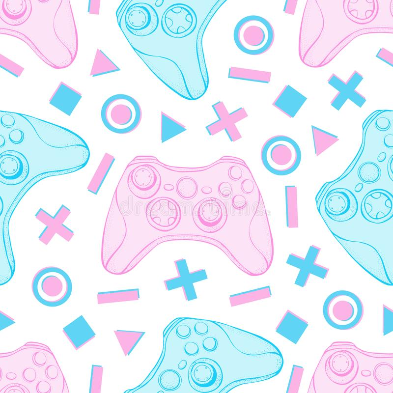 Free Gamepad Joystick Game Controller Seamless Pattern. Devices For Video Games, Esports, Gamer On White Background. Hand Royalty Free Stock Image - 148103896
