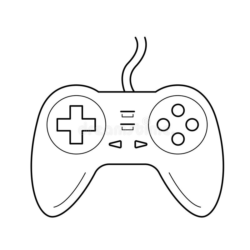 Gamepad line icon. Gamepad vector line icon isolated on white background. Joystick controller line icon for infographic, website or app stock illustration