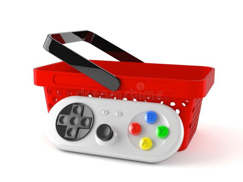 Gamepad met mand vector illustratie