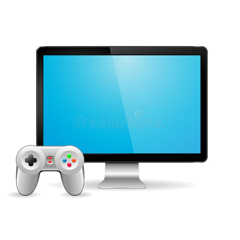 Gamepad and modern computer display with empty blank screen stock illustration