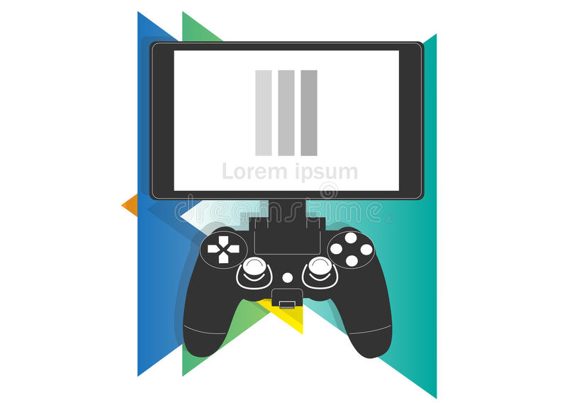 Gamepad and monitor icon. On a background of multicolored triangles vector illustration