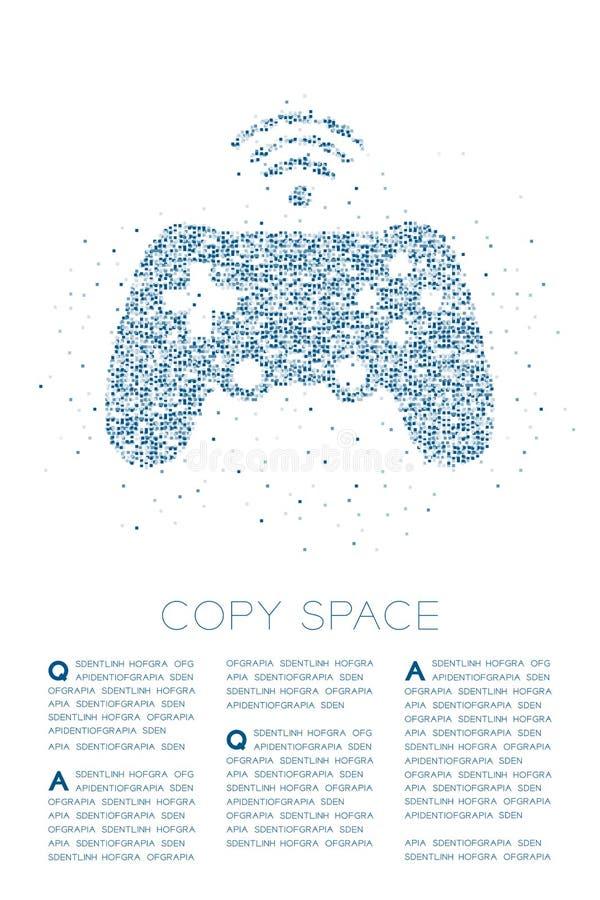 Gamepad o modello geometrico del pixel della scatola quadrata della particella di forma del joypad, illustrazione di colore blu d illustrazione di stock