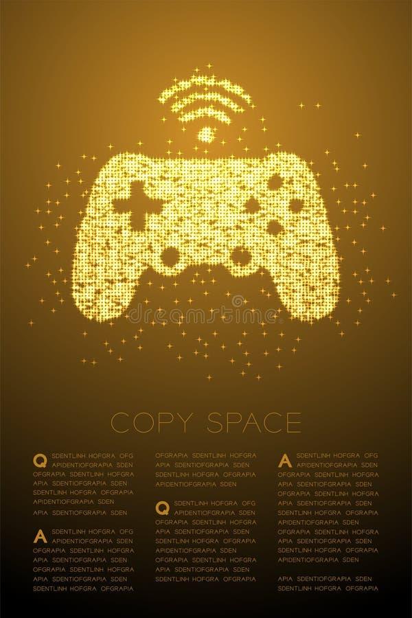 Gamepad o motivo a stelle brillante di Bokeh della particella di forma del joypad, illustrazione di colore dell'oro di progettazi illustrazione di stock