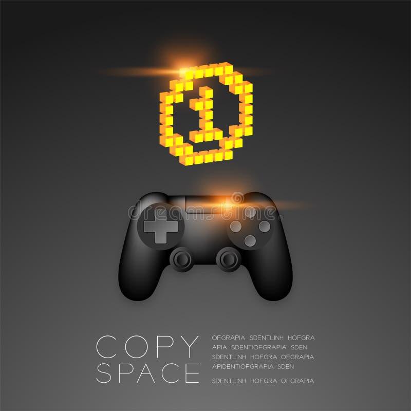Gamepad oder joypad Schwarzfarbe mit Goldmedaillen-Nummer Eins-Pixelikone, Spielsieger-Konzeptentwurfsillustration lokalisiert au stock abbildung