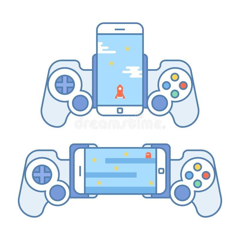Gamepad para su teléfono Los accesorios para los dispositivos móviles permiten que usted juegue a los videojuegos Palanca de mand stock de ilustración