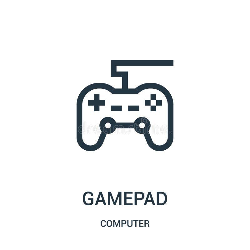 gamepad pictogramvector van computerinzameling De dunne lijn gamepad schetst pictogram vectorillustratie royalty-vrije illustratie