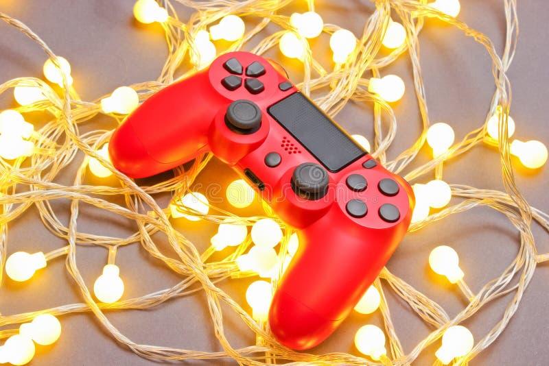 Gamepad rosso fotografie stock libere da diritti
