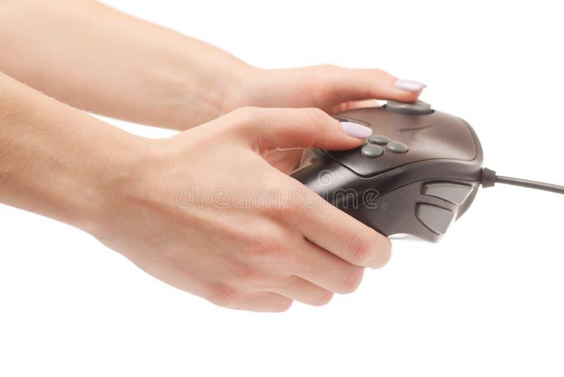 Gamepad-Schwarzes in der Hand stockfoto