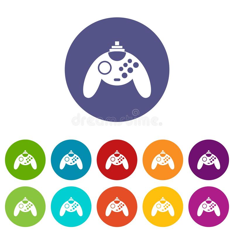 Gamepad set icons. In different colors isolated on white background vector illustration
