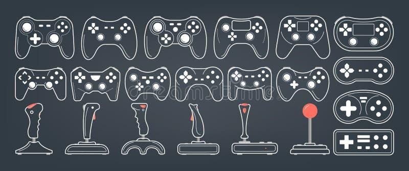 Gamepad set Kolekcja konsola kontroler różnorodny kształt royalty ilustracja