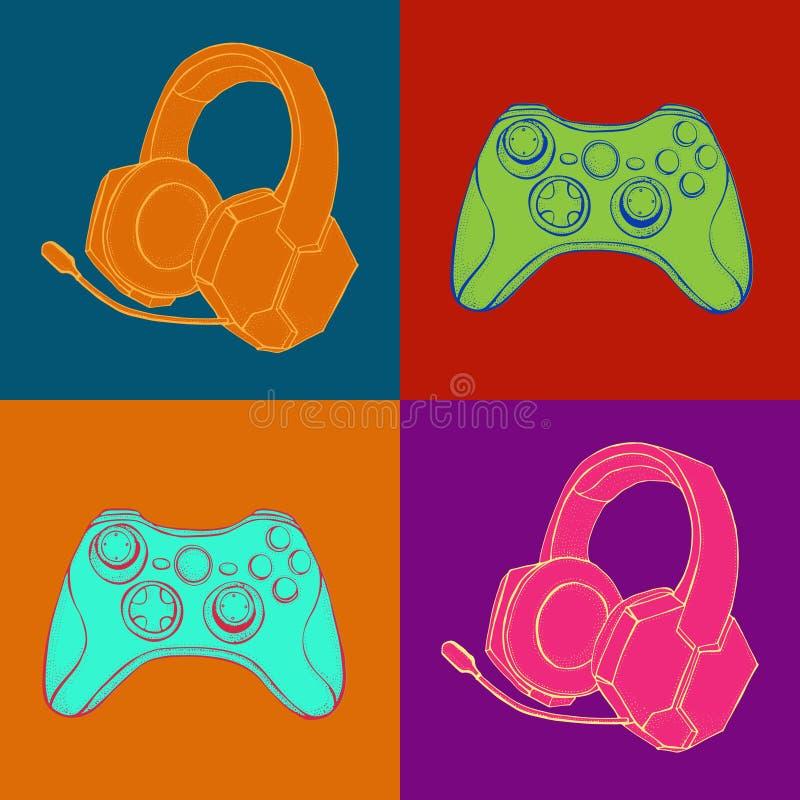 Gamepad-Steuerknüppel Gamecontroller und Kopfhörer mit Mikrofon Geräte für Videospiele, esports, Gamer Hand gezeichnet stock abbildung