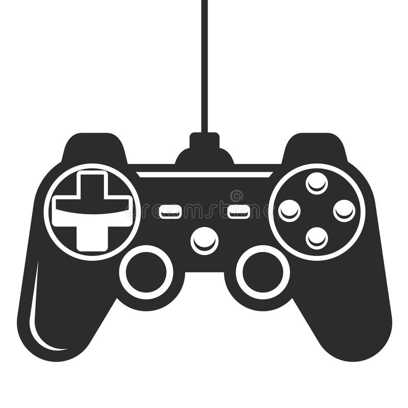 Gamepad symbol - modig konsolstyrspak royaltyfri illustrationer