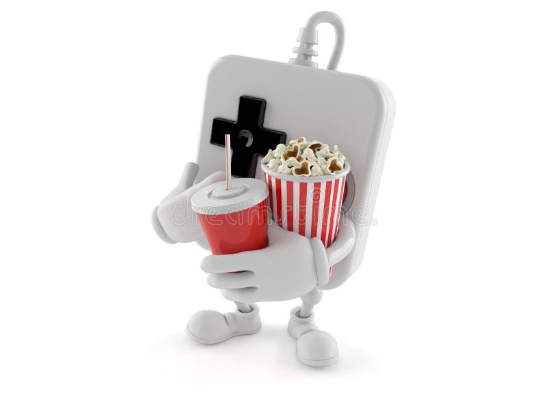 Gamepad tecken som rymmer popcorn och sodavatten stock illustrationer