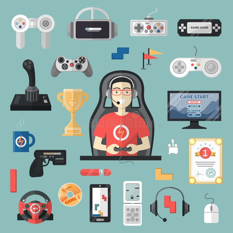 Gamepad vector gamer playing gameplay and player character gaming videogame with joystick or game-console illustration stock illustration