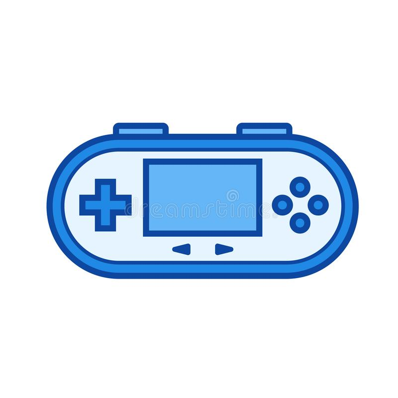 Gamepad line icon. Gamepad vector line icon isolated on white background. Gamepad line icon for infographic, website or app. Blue icon designed on a grid system royalty free illustration