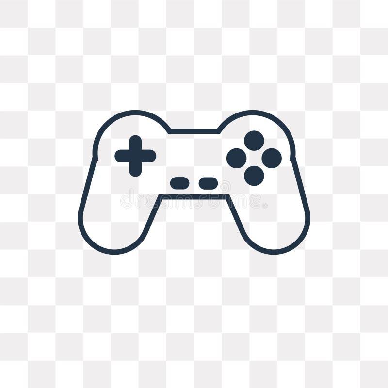 Gamepad wektorowa ikona odizolowywająca na przejrzystym tle, liniowy G ilustracji