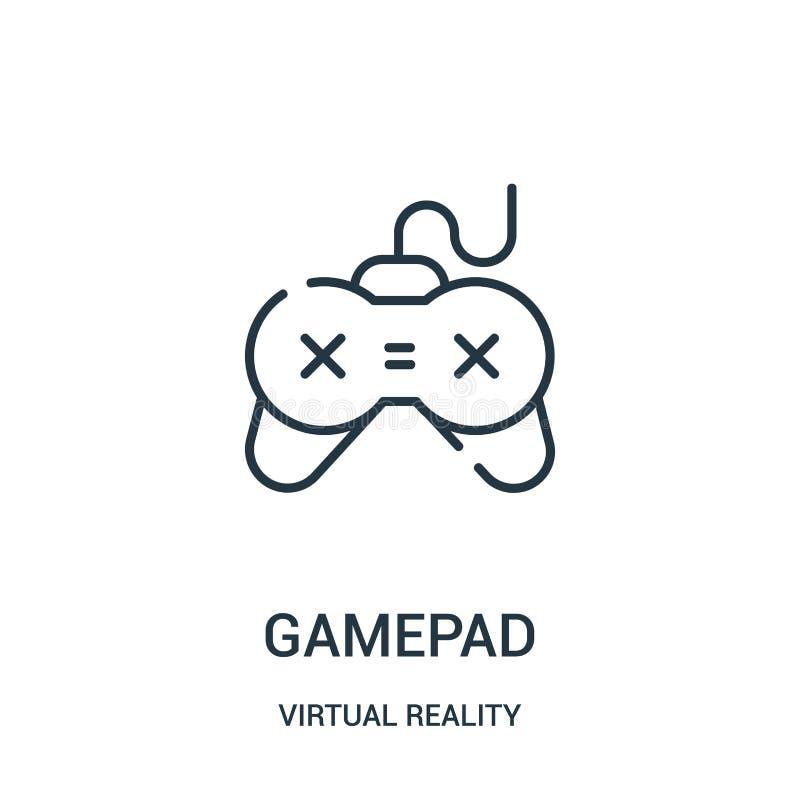 gamepadsymbolsvektor från virtuell verklighetsamling Tunn linje illustration f?r vektor f?r gamepad?versiktssymbol vektor illustrationer