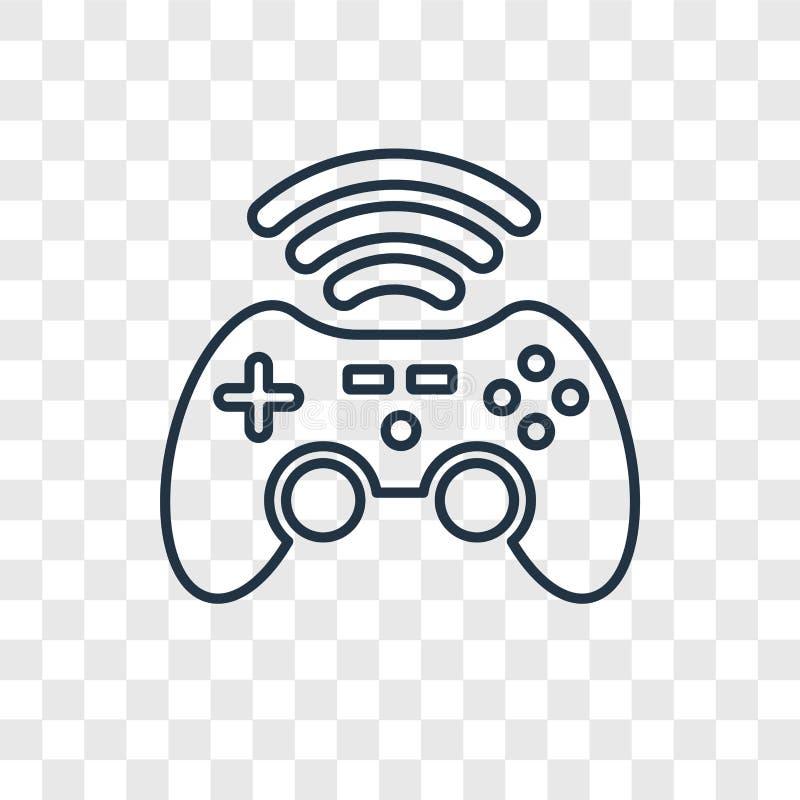 Gameplay pojęcia wektorowa liniowa ikona odizolowywająca na przejrzystym plecy ilustracji
