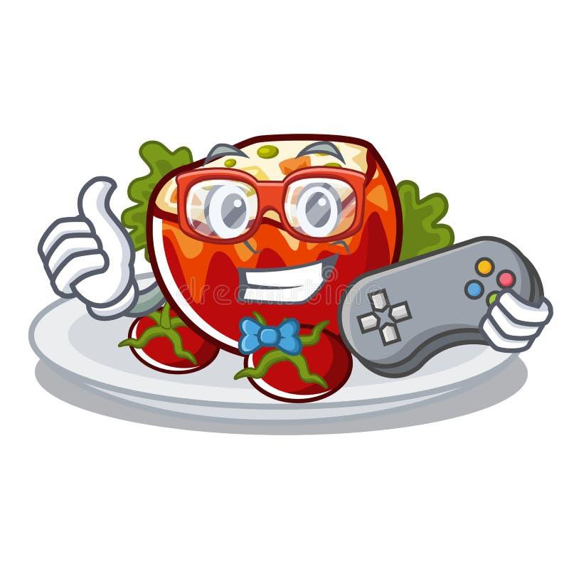 Gamer заполнил томаты на доске мультфильма иллюстрация штока