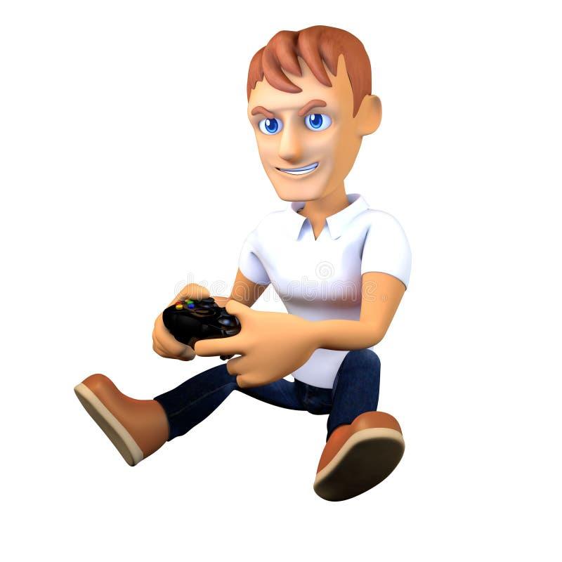 Gamer играя видеоигры с joypad иллюстрация вектора