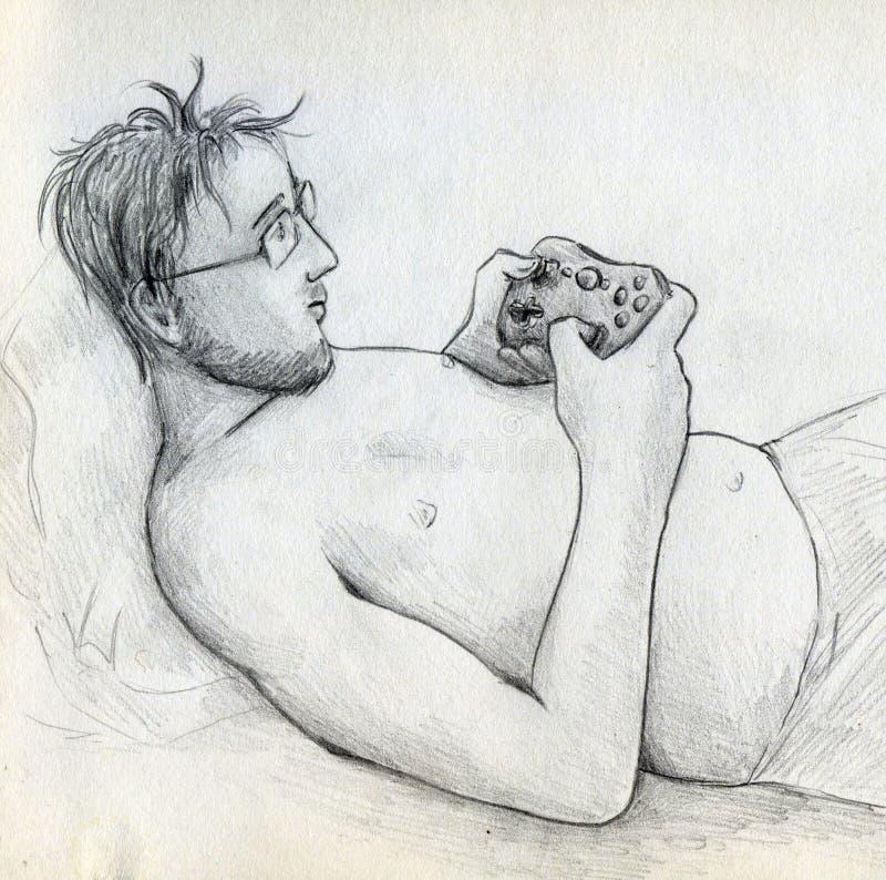Gamer с gamepad бесплатная иллюстрация