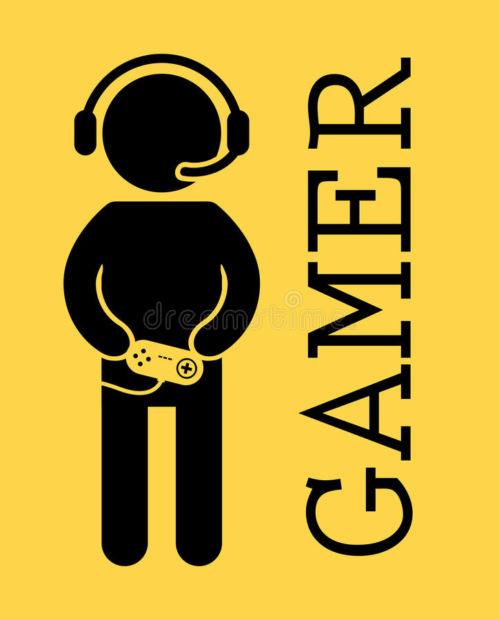 Gamer. Design over yellow background vector illustration royalty free illustration