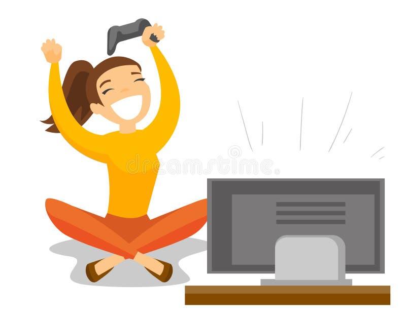 Gamer blanc caucasien jouant le jeu vidéo à la TV illustration de vecteur