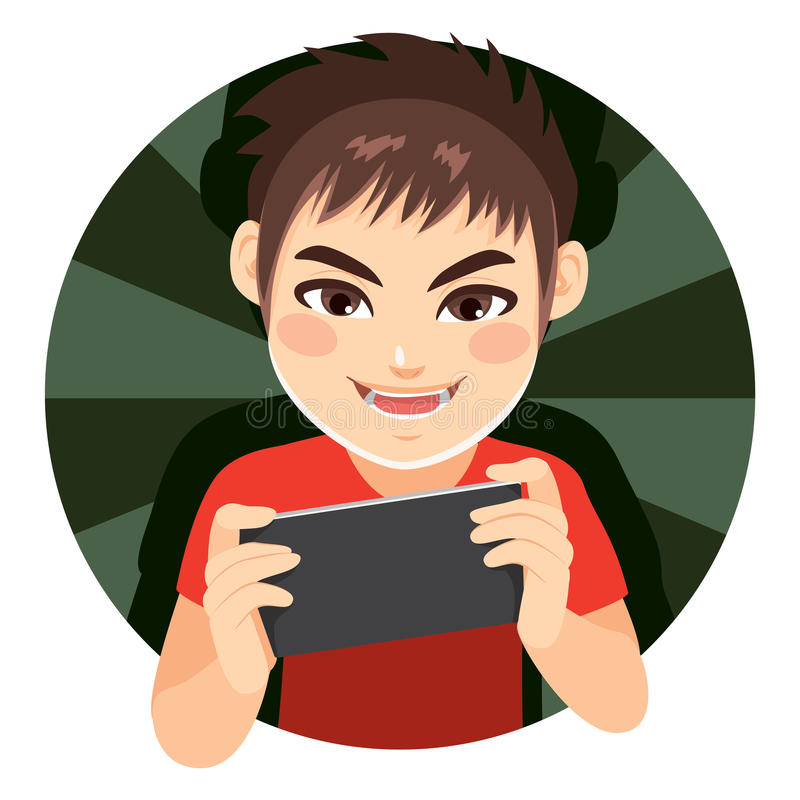 Gamer Boy. Happy delighted gamer boy playing video games with tablet device royalty free illustration