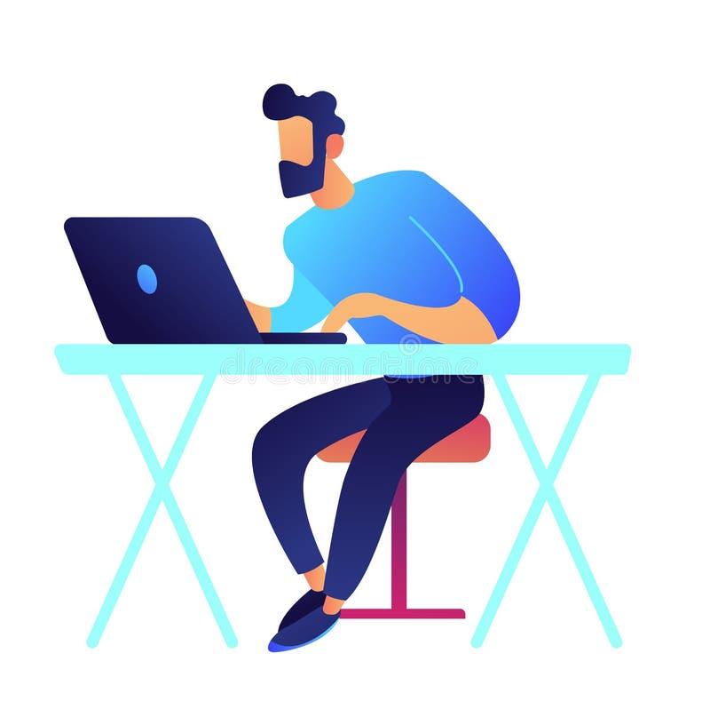 Gamer com o portátil que senta-se na ilustração do vetor da mesa ilustração do vetor