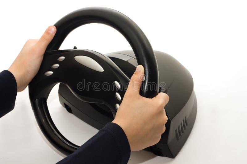 Gamer con un volante imagenes de archivo