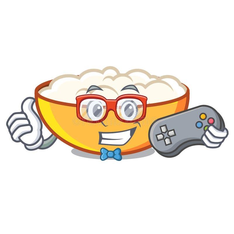 Gamer cottage cheese mascot cartoon. Vector illustration vector illustration