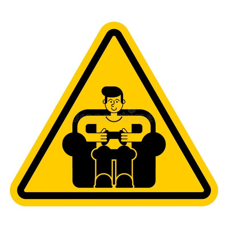Gamer da atenção Perigo amarelo do sinal de estrada O indivíduo do cuidado joga o vide ilustração stock