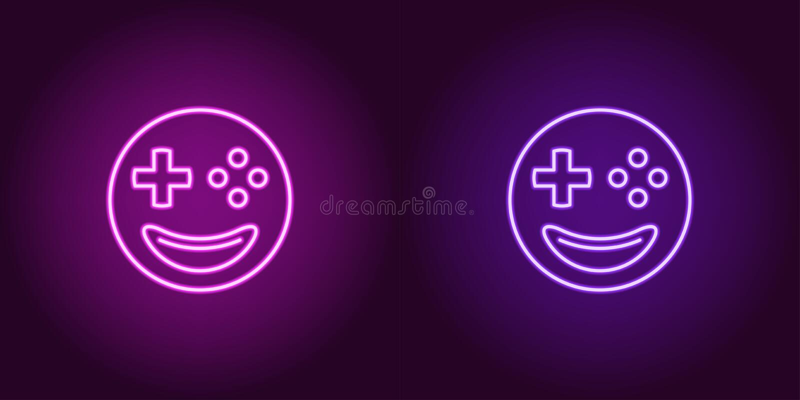 Gamer de néon do emoji, sinal de incandescência Ícone do emoji do vetor ilustração stock