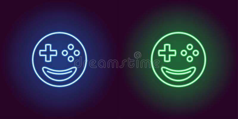 Gamer de néon do emoji, sinal de incandescência Ícone do emoji do vetor ilustração royalty free