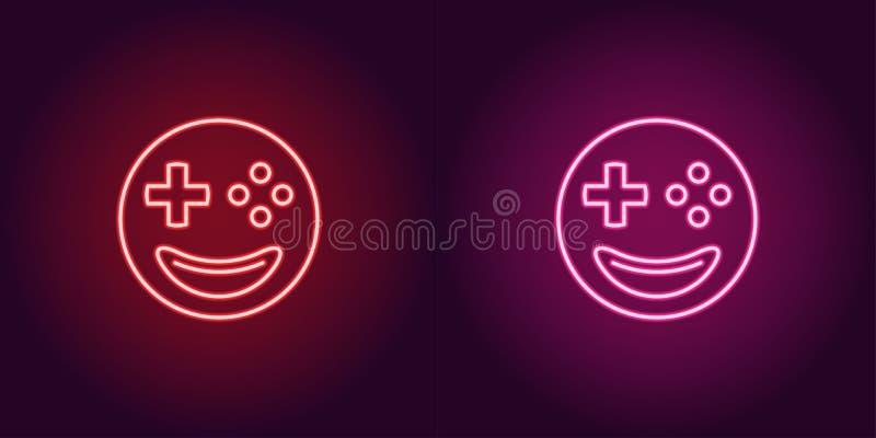 Gamer de néon do emoji, sinal de incandescência Ícone do emoji do vetor ilustração do vetor