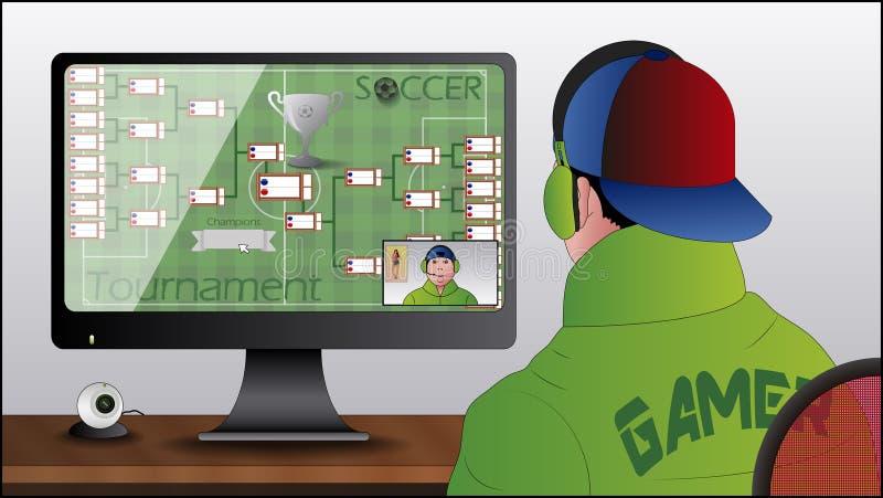 Gamer del PC con la camma di web illustrazione vettoriale