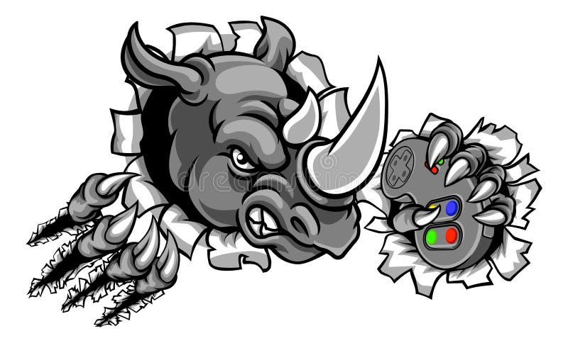 Gamer do rinoceronte que guarda o controlador Breaking Background ilustração do vetor