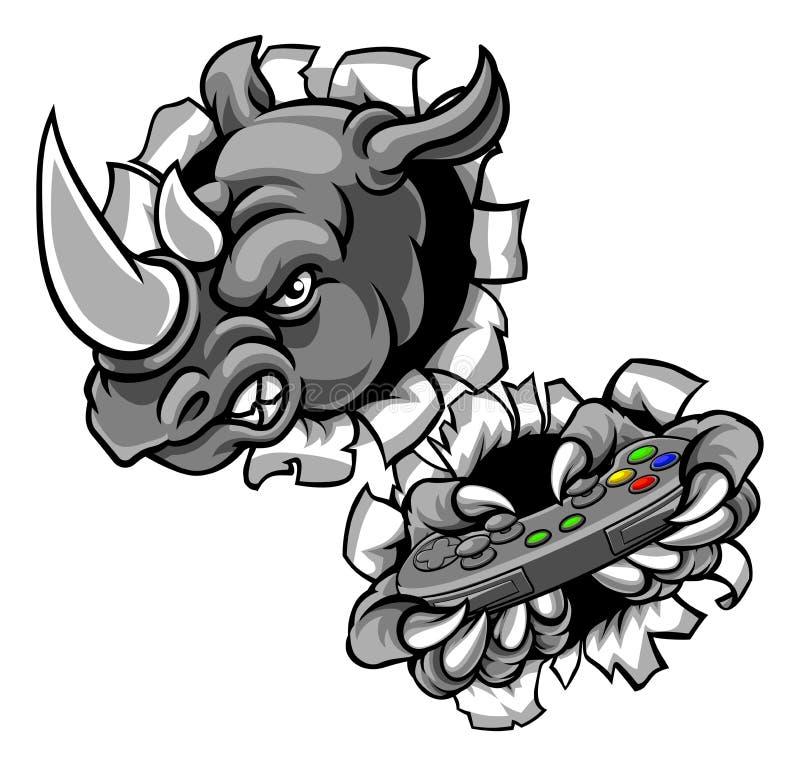 Gamer do rinoceronte que guarda o controlador Mascot dos jogos ilustração royalty free
