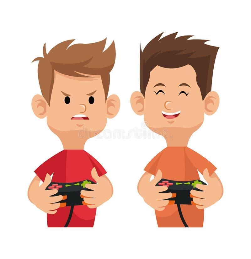 Gamer dois feliz e irritado com o controlador da almofada do jogo ilustração do vetor