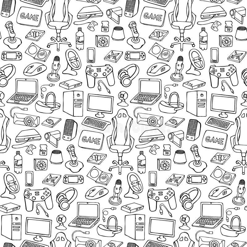 Gamer doodle bezszwowy wzór royalty ilustracja