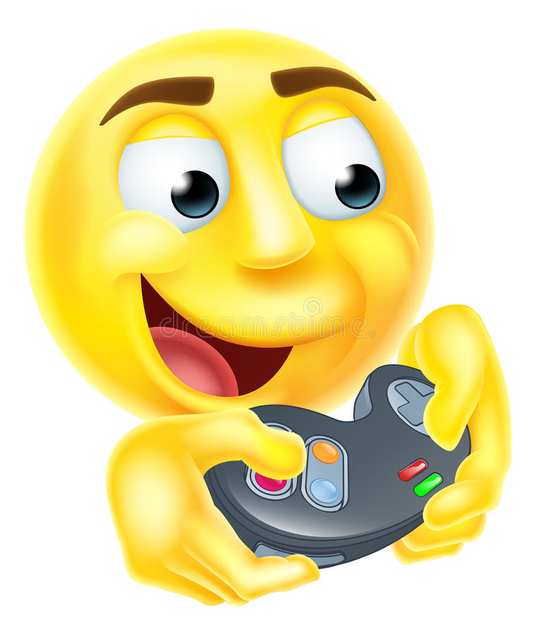 Gamer Emoji Emoticon. A gamer cartoon emoji emoticon smiley face character holding a video games controller playing games vector illustration