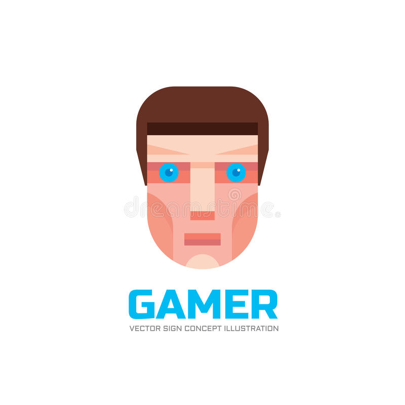 Gamer face - logo in flat style. Human head sign. Geek concept illustration. Design element royalty free illustration