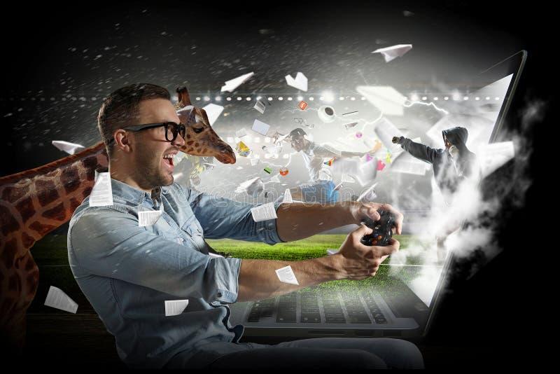 Gamer facet z joystickiem obraz royalty free