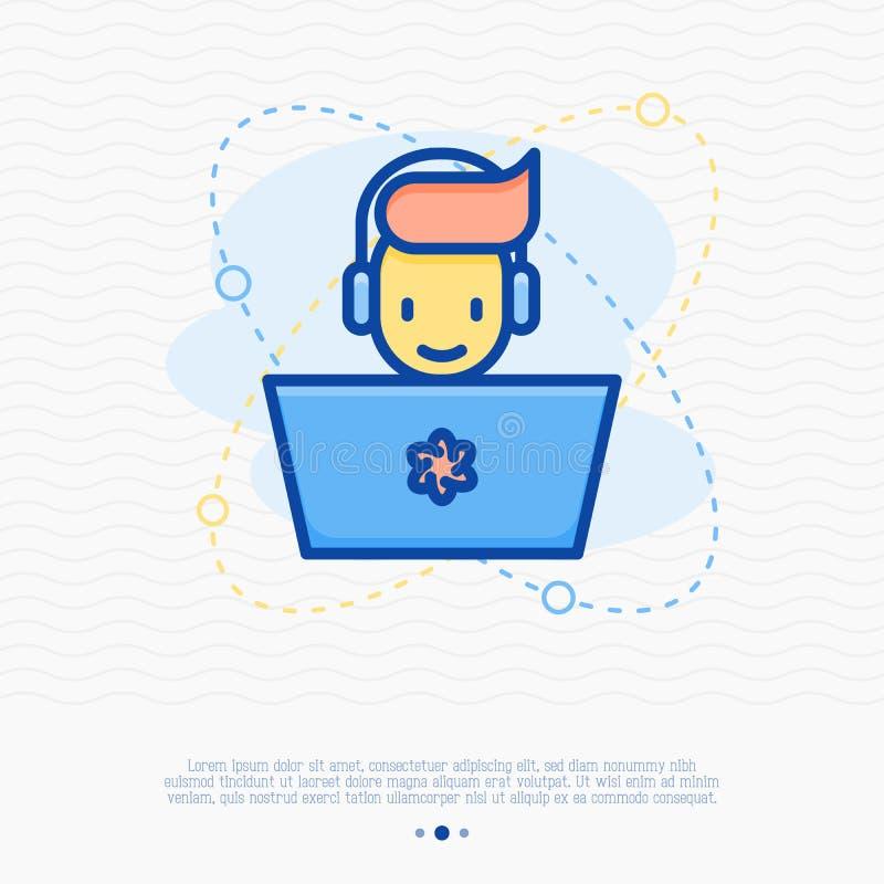 Gamer feliz com portátil e auriculares ilustração royalty free